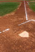 Baseball Infield at Home Plate looking toward First Base