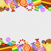 Abstract Frame With Sweets. Colorful Caramel And Chocolate Candies Biscuits And Cakes Lollipop Sweet poster