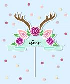 Vector Illustration With Deer Headband, Flower Wreath, Blue Ribbon As Topper, Patch, Sticker. Topper poster