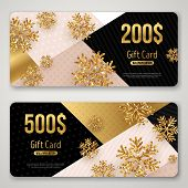 Gift Cards Set With Gold Snowflakes. Vector Illustration. Christmas Trendy Geometric Background. Win poster