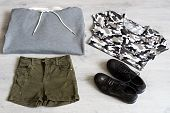 Teen Clothing Set: Grey Sweatshirt, Green Shorts, T-short And Boots In Military Style poster