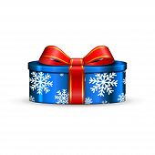 Gift Box 3d, Red Ribbon Bow Isolated White Background. Decoration Present Blue Gift-box For Happy Ho poster