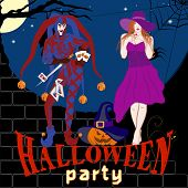 Vector Image Of The Joker, Beautiful Witch And Laughing Pumpkin In A Hat. Symbols Halloween - Cheerf poster