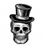 Skull Or Jolly Roger In Hat-cylinder. Joker Sketch. Vintage Vector Illustration poster