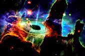 Landscape In Fantasy Alien Planet With Galaxy Background. The Elements Of This Image Furnished By Na poster