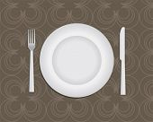 Table setting, plate, knife and fork