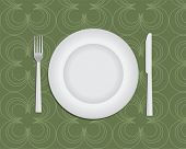 Table setting green, plate, knife and fork