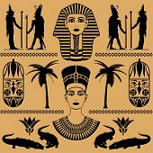 stock photo of nefertiti  - elements of the Egyptian decorative patterns heads of Nefertiti and masks of pharaoh on a beige background - JPG