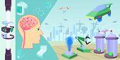 Future High-tech Horizontal Banner Concept. Cartoon Illustration Of Future High-tech Horizontal Bann poster