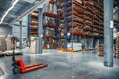 Large Logistics Hangar Warehouse With Lots Shelves Or Racks With Pallets Of Goods. Industrial Shippi poster
