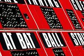 Baseball scorboard with bat ball and strike zones