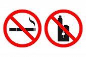 No Vaping Sign. No Smoking Sign. Vector. poster