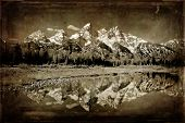 Vintage Photograph of Grand Tetons Mountains with relfection in river