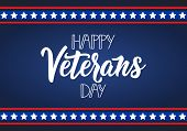 Happy Veterans Day Hand Lettering. November 11th, United State Of America, U.s.a Veterans Day Design poster