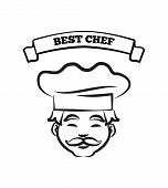 Best Chef Emblem With Cook In Hat Sketch. Man That Has Mustache Wears Headdress Under Sign On Ribbon poster