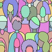 Crowd Of Women, Seamless Pattern Girls, Abstract Background Women, Vector Banner On International Wo poster