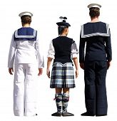 Three highland dancers facing the judge