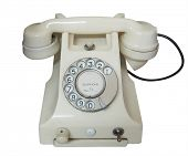 Vintage White Phone isolated with clipping path