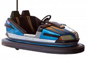 Blue Bumper Car isolated with clipping path