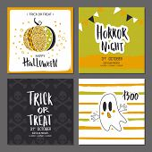 Set Of Halloween Hand Drawn Greeting Card With Calligraphy Quotes, Cute Glamorous Sparkling Pumpkin  poster