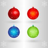 EPS10 3D Vector Christmas Balls Set