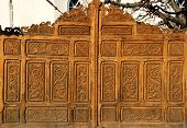 picture of stippling  - a gate from an old monastery made from wood - JPG