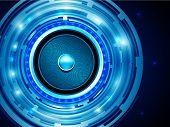 EPS10 Design for Shiny Dark Blue Audiospeaker - Abstract Vector Background
