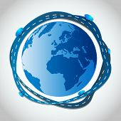 Abstract Illustration - Blue Roads Around Globe - EPS10 Vector Design
