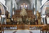 The Greek Orthodox Cathedral in Rethymno, Crete, showing the iconostasis, candelabra and some of the