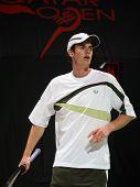 Tenis estrellas Andy Murray de Escocia, durante la primera ronda del Open de Qatar, Doha 01 de enero de 2007