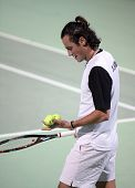Federico Luzzi of Italy during his first round match in the Qatar Open, in Doha, Qatar, on January 2, 2007