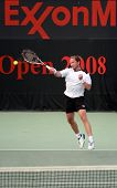 Rainer Schuettler in action against Andrei Pavel in the first round of the Qatar ExxonMobil Open 2008, in Doha.