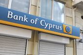 HERAKLION, GREECE - JULY 27: The sign on a branch of the Bank of Cyprus which has $2bn euros of Gree