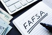 Fafsa Handwritten In A Note. Free Application For Federal Student Aid. poster