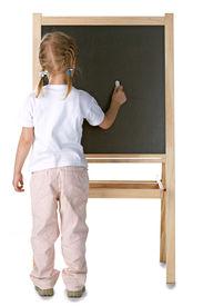pic of little school girl  - little girl and blackboard on white background - JPG