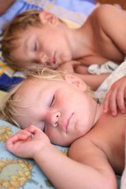 stock photo of sleeping baby  - two sleeping kids - JPG
