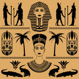 foto of nefertiti  - elements of the Egyptian decorative patterns heads of Nefertiti and masks of pharaoh on a beige background - JPG