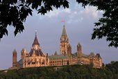 Parlament umrahmt mit Blättern