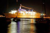 Cruise Ship At Night, Rhodes, Greece