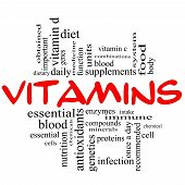 stock photo of enzyme  - Vitamins Word Cloud Concept in red and black letters with great terms such as intake system dietary nutrition units antioxidants enzymes and more - JPG