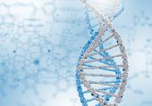 picture of double helix  - Image of DNA strand against colour background - JPG