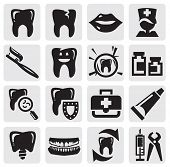 pic of molar  - vector black tooth icons set on gray - JPG