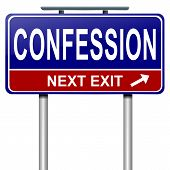 picture of repentance  - Illustration depicting a roadsign with a confession concept - JPG