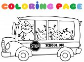Coloring Page School Bus With Children