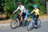 Family On The Bikes In The Sunny Forest