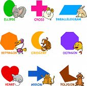 image of octagon shape  - Cartoon Illustration of Basic Geometric Shapes with Captions and Animals Comic Characters for Children Education - JPG