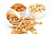 Bowls Of Almond,pistachios And Wall Nuts