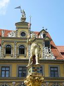 Ronald Statue And Red Ox House, Erfurt, Germany
