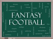 stock photo of roster  - Fantasy Football Word Cloud Concept on a Blackboard with great terms such as draft running back money fees defense teams and more - JPG