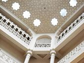 pic of algiers  - Islamic palace ornamented white sealing with windows - JPG